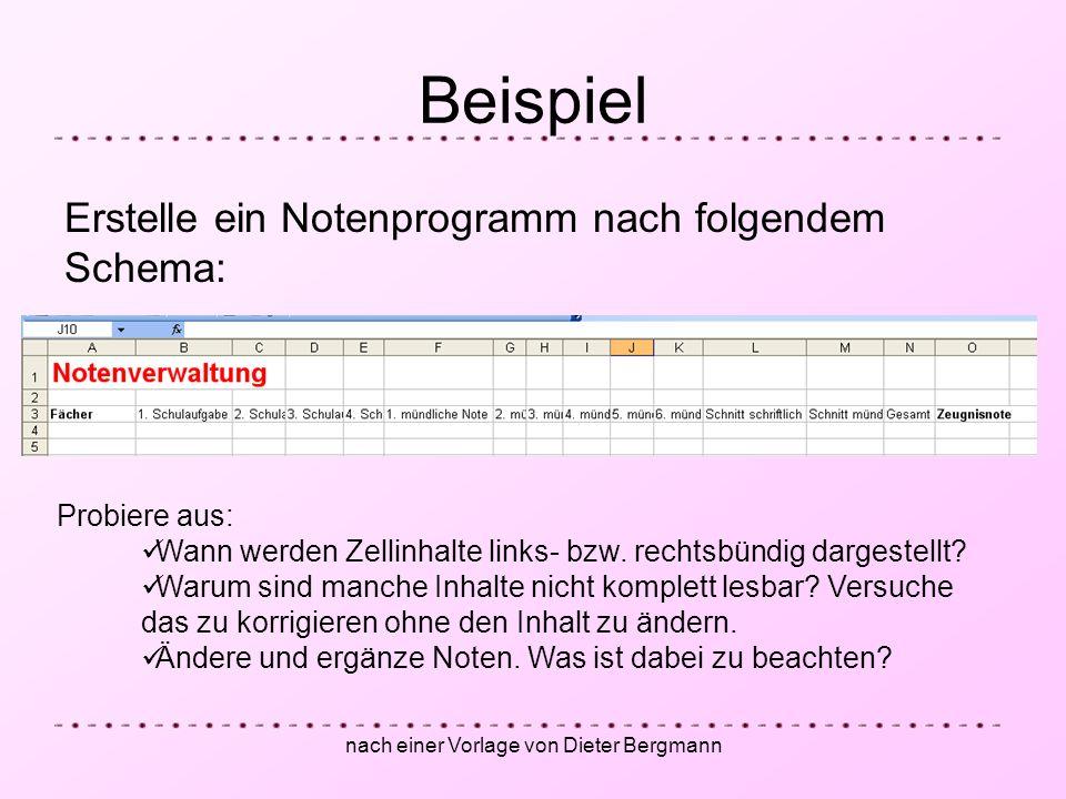 nach einer Vorlage von Dieter Bergmann
