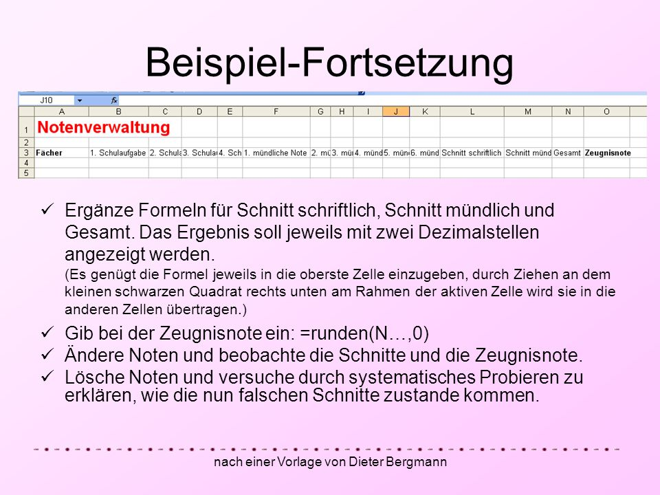 Beispiel-Fortsetzung