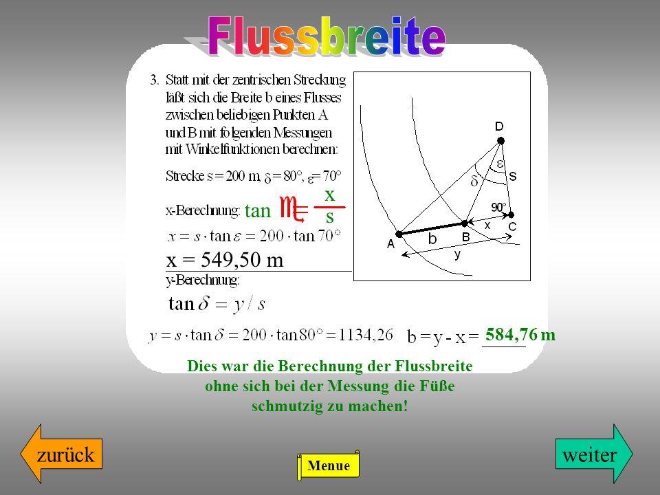Flussbreite x tan s x = 549,50 m zurück weiter 584,76 m