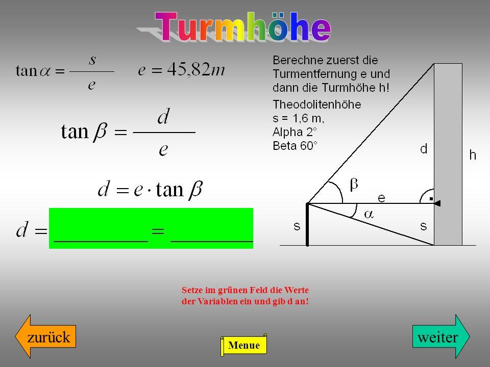 Setze im grünen Feld die Werte der Variablen ein und gib d an!