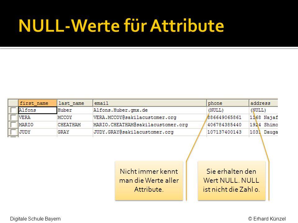 NULL-Werte für Attribute