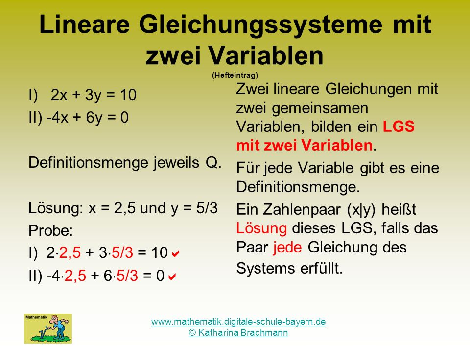 Lineare Gleichungssysteme mit zwei Variablen (Hefteintrag)