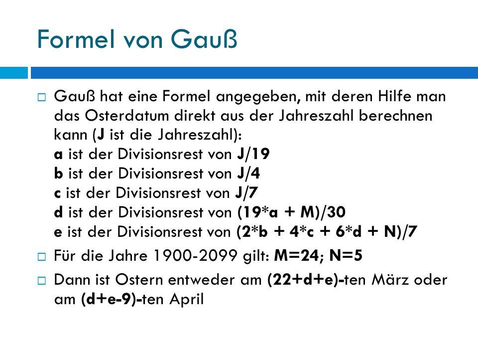 Formel von Gauß