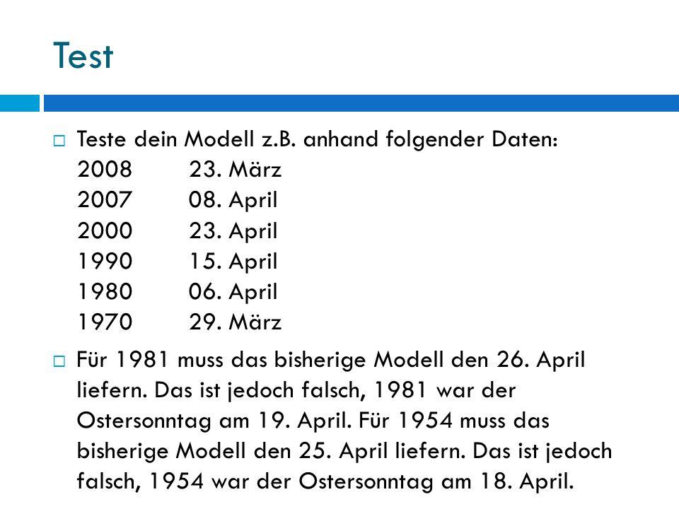 Test Teste dein Modell z.B. anhand folgender Daten: 2008 23. März 2007 08. April 2000 23. April 1990 15. April 1980 06. April 1970 29. März.