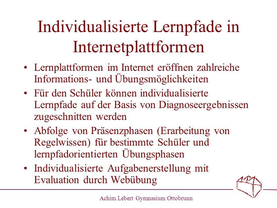 Individualisierte Lernpfade in Internetplattformen
