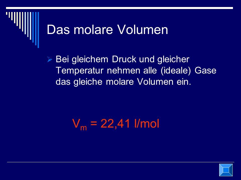 Das molare Volumen Vm = 22,41 l/mol