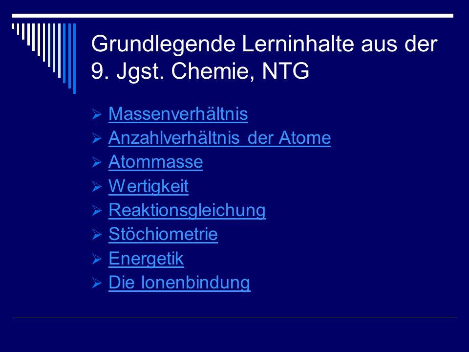 Grundlegende Lerninhalte aus der 9. Jgst. Chemie, NTG