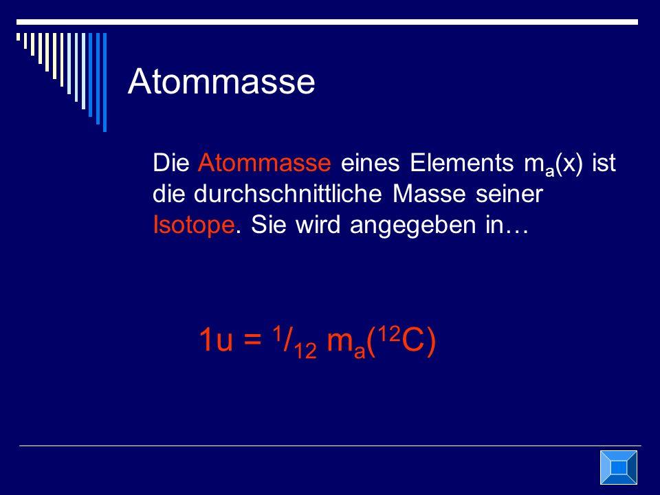Atommasse Die Atommasse eines Elements ma(x) ist die durchschnittliche Masse seiner Isotope. Sie wird angegeben in…