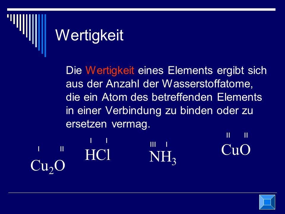CuO HCl NH3 Cu2O Wertigkeit