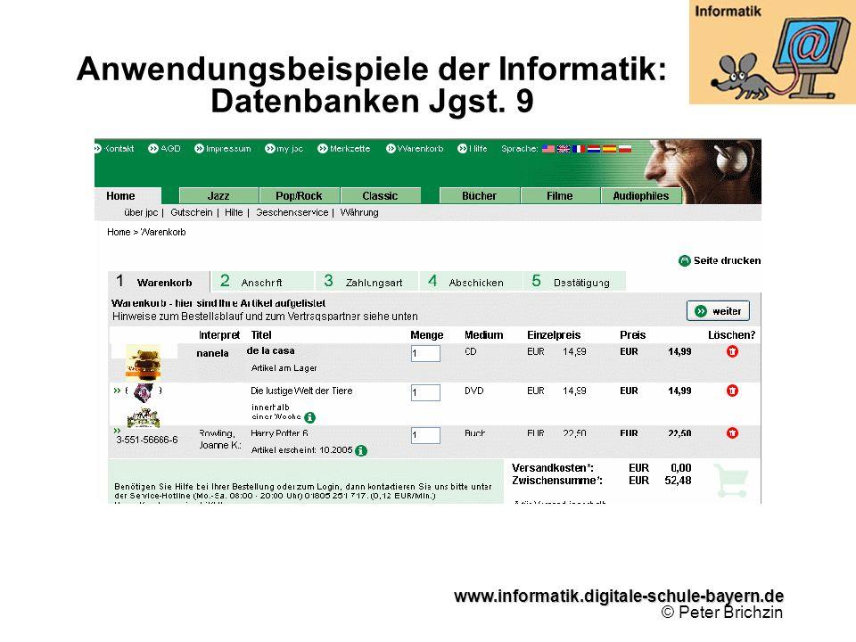 Anwendungsbeispiele der Informatik: Datenbanken Jgst. 9