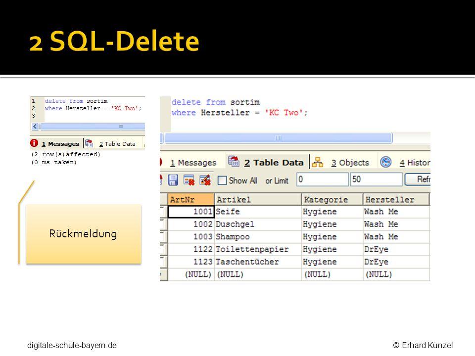 2 SQL-Delete Rückmeldung.