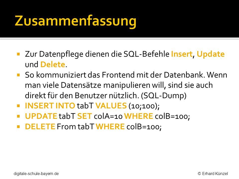 Zusammenfassung Zur Datenpflege dienen die SQL-Befehle Insert, Update und Delete.