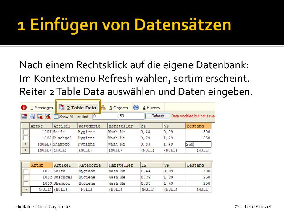 1 Einfügen von Datensätzen