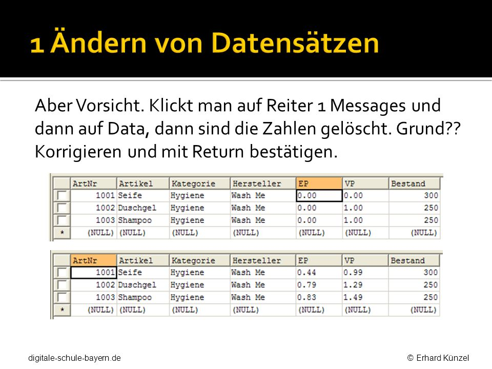 1 Ändern von Datensätzen