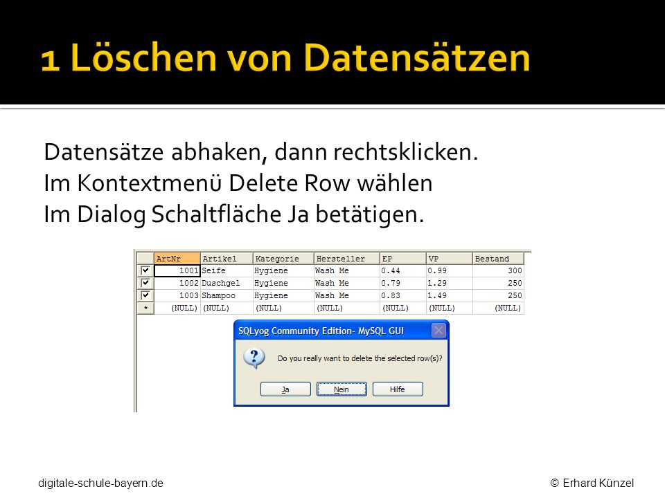 1 Löschen von Datensätzen