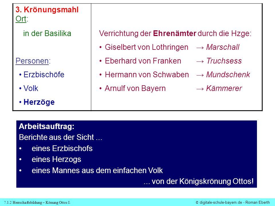 3. Krönungsmahl Ort: Personen: in der Basilika. Verrichtung der Ehrenämter durch die Hzge: Giselbert von Lothringen → Marschall.