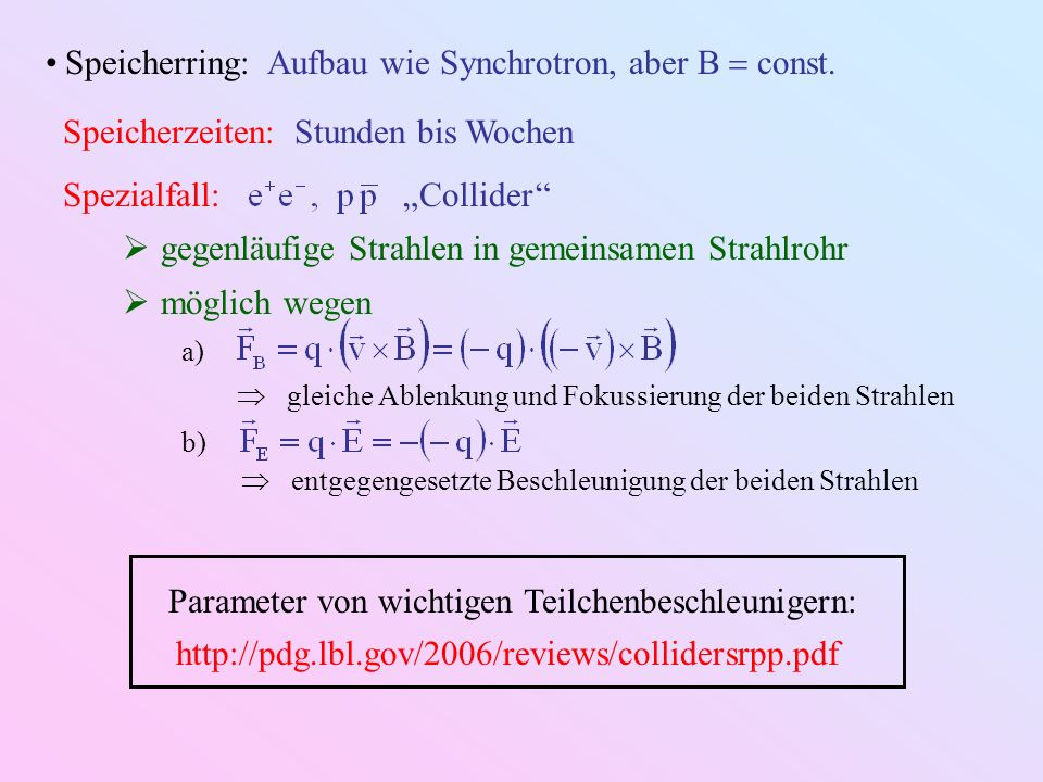Parameter von wichtigen Teilchenbeschleunigern: