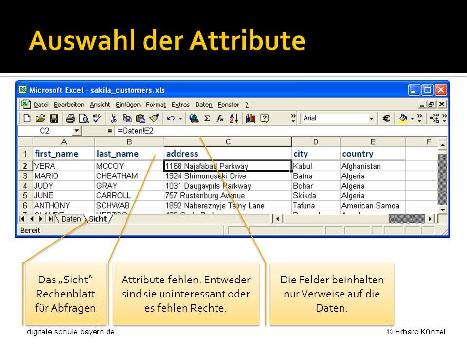 """Auswahl der Attribute Das """"Sicht Rechenblatt für Abfragen"""