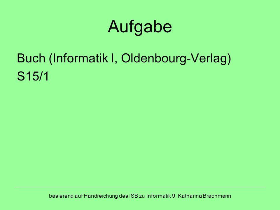 Aufgabe Buch (Informatik I, Oldenbourg-Verlag) S15/1