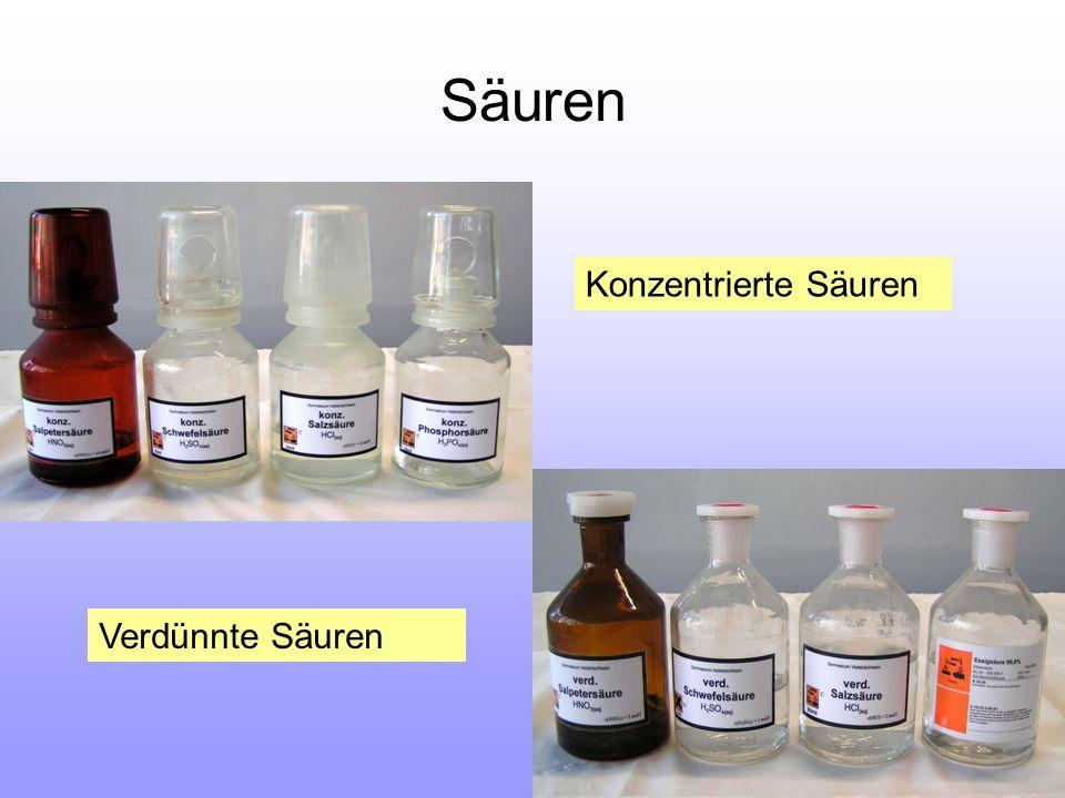 Säuren Konzentrierte Säuren Verdünnte Säuren