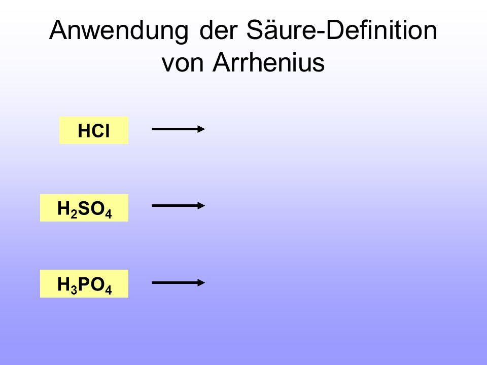 Anwendung der Säure-Definition von Arrhenius