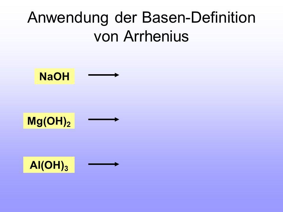 Anwendung der Basen-Definition von Arrhenius