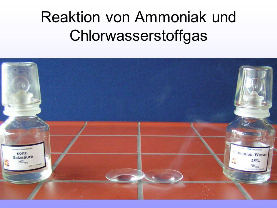 Reaktion von Ammoniak und Chlorwasserstoffgas