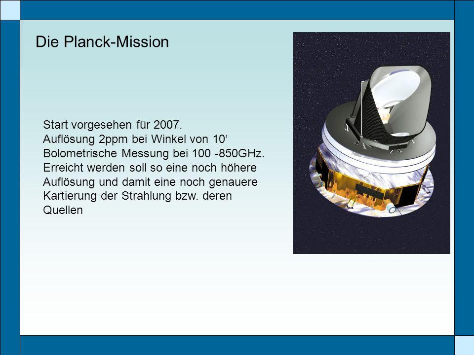 Die Planck-Mission Start vorgesehen für 2007.