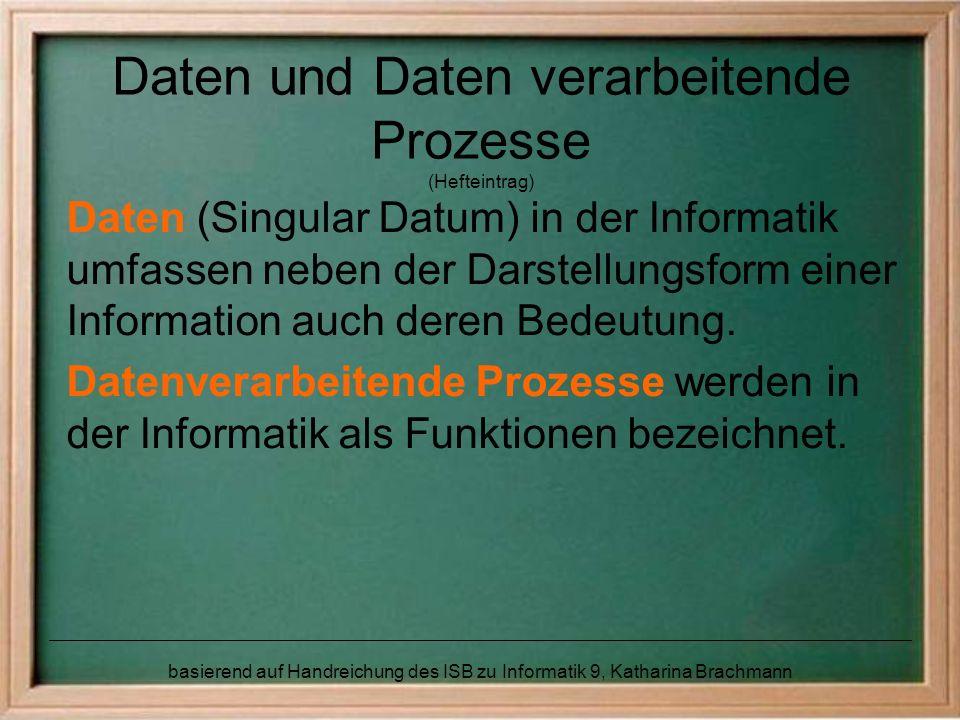 Daten und Daten verarbeitende Prozesse (Hefteintrag)