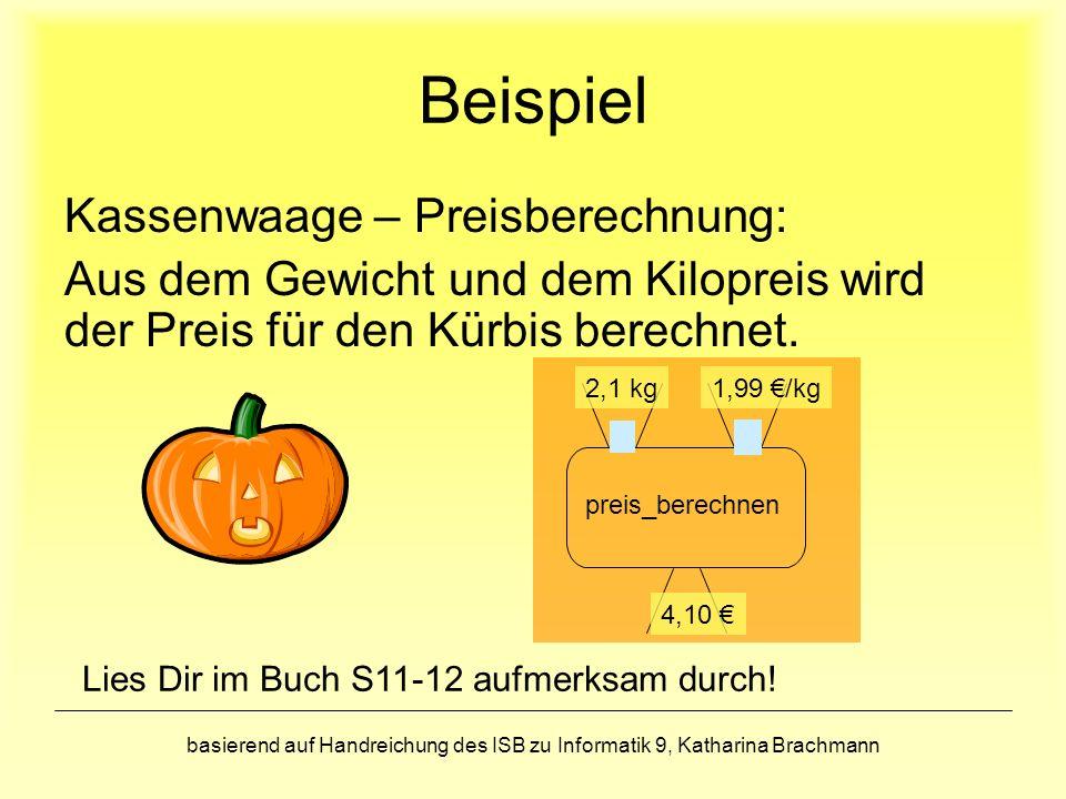 Beispiel Kassenwaage – Preisberechnung: