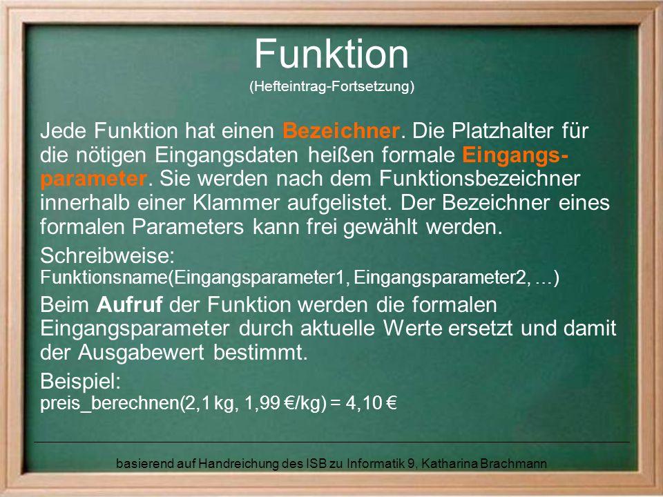 Funktion (Hefteintrag-Fortsetzung)