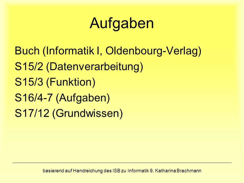 Aufgaben Buch (Informatik I, Oldenbourg-Verlag)