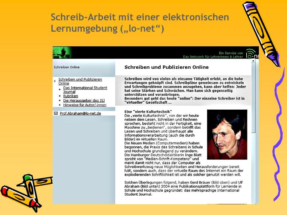 """Schreib-Arbeit mit einer elektronischen Lernumgebung (""""lo-net )"""
