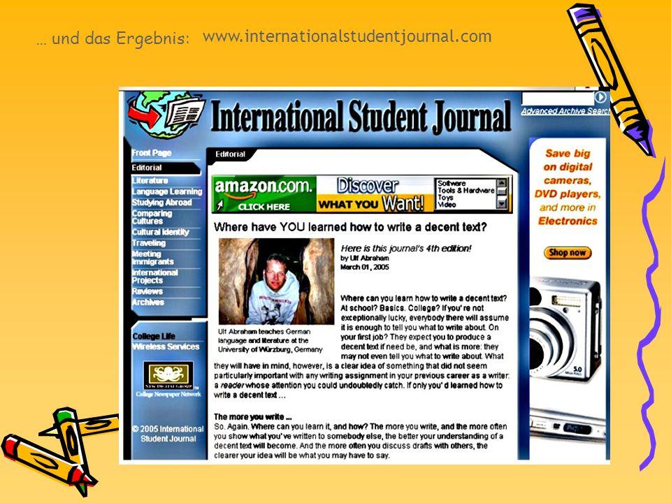 … und das Ergebnis: www.internationalstudentjournal.com