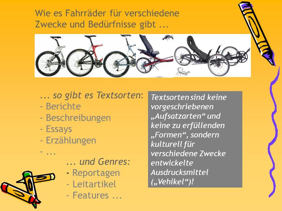 Wie es Fahrräder für verschiedene Zwecke und Bedürfnisse gibt ...