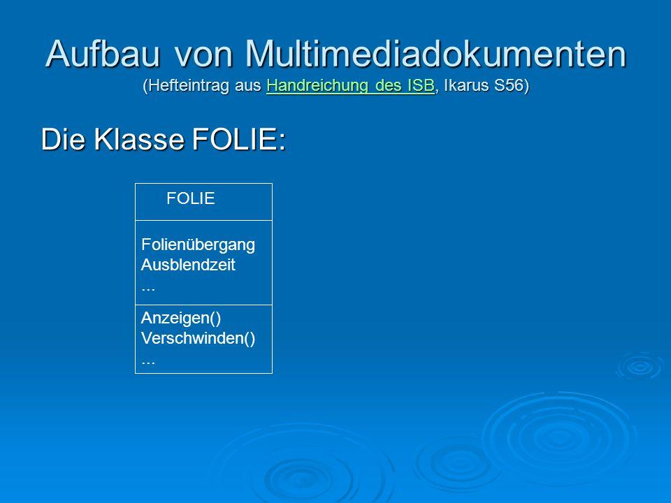 Aufbau von Multimediadokumenten (Hefteintrag aus Handreichung des ISB, Ikarus S56)