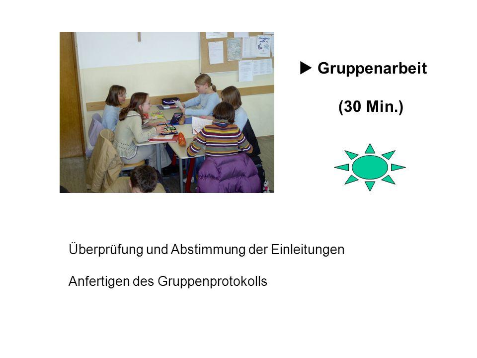  Gruppenarbeit (30 Min.) Überprüfung und Abstimmung der Einleitungen Anfertigen des Gruppenprotokolls.