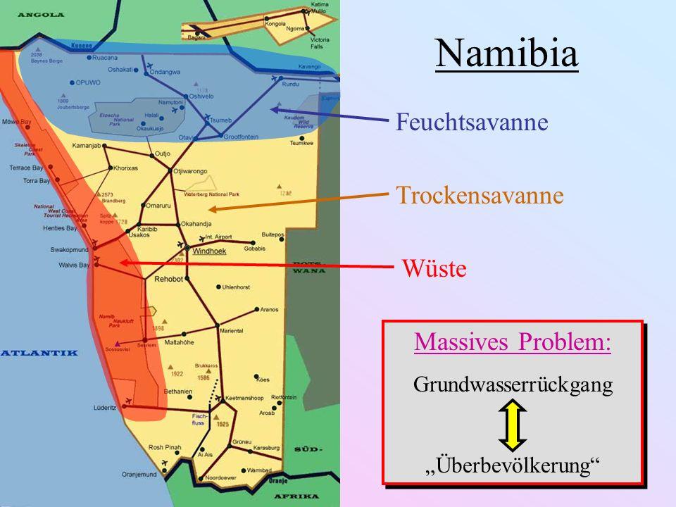 Namibia Feuchtsavanne Trockensavanne Wüste Massives Problem: