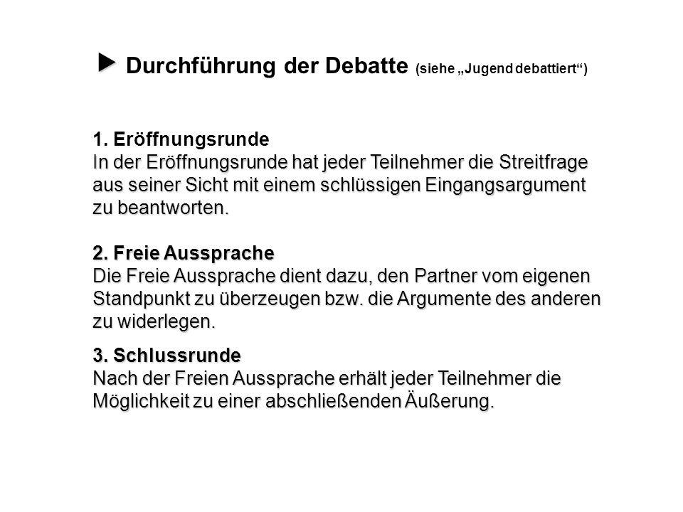 """ Durchführung der Debatte (siehe """"Jugend debattiert )"""