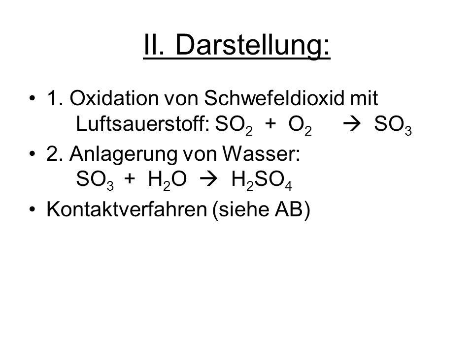 II. Darstellung: 1. Oxidation von Schwefeldioxid mit Luftsauerstoff: SO2 + O2  SO3. 2. Anlagerung von Wasser: SO3 + H2O  H2SO4.