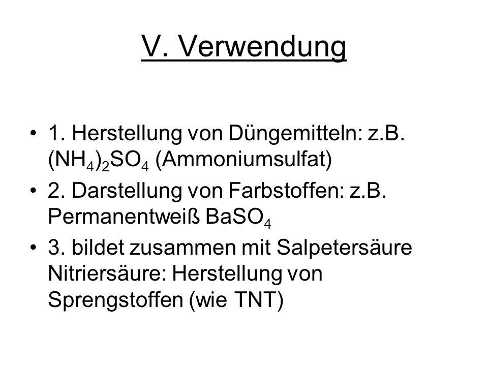 V. Verwendung 1. Herstellung von Düngemitteln: z.B. (NH4)2SO4 (Ammoniumsulfat) 2. Darstellung von Farbstoffen: z.B. Permanentweiß BaSO4.