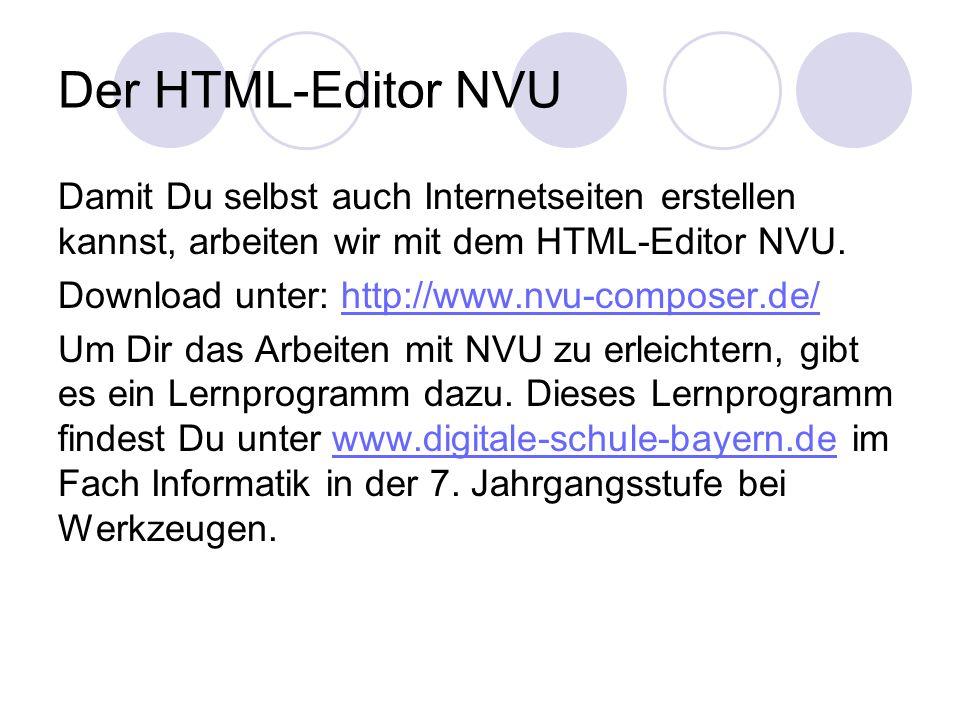 Der HTML-Editor NVU Damit Du selbst auch Internetseiten erstellen kannst, arbeiten wir mit dem HTML-Editor NVU.
