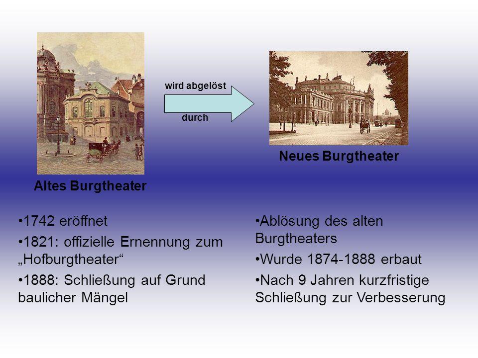 """1821: offizielle Ernennung zum """"Hofburgtheater"""