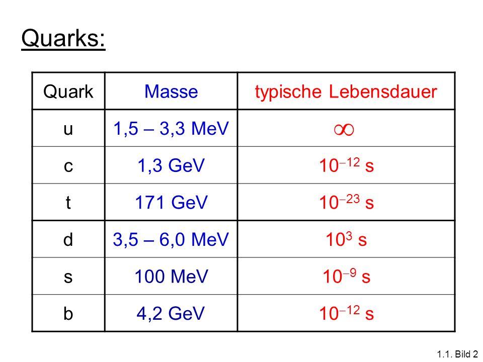  Quarks: Quark Masse typische Lebensdauer u 1,5 – 3,3 MeV c 1,3 GeV