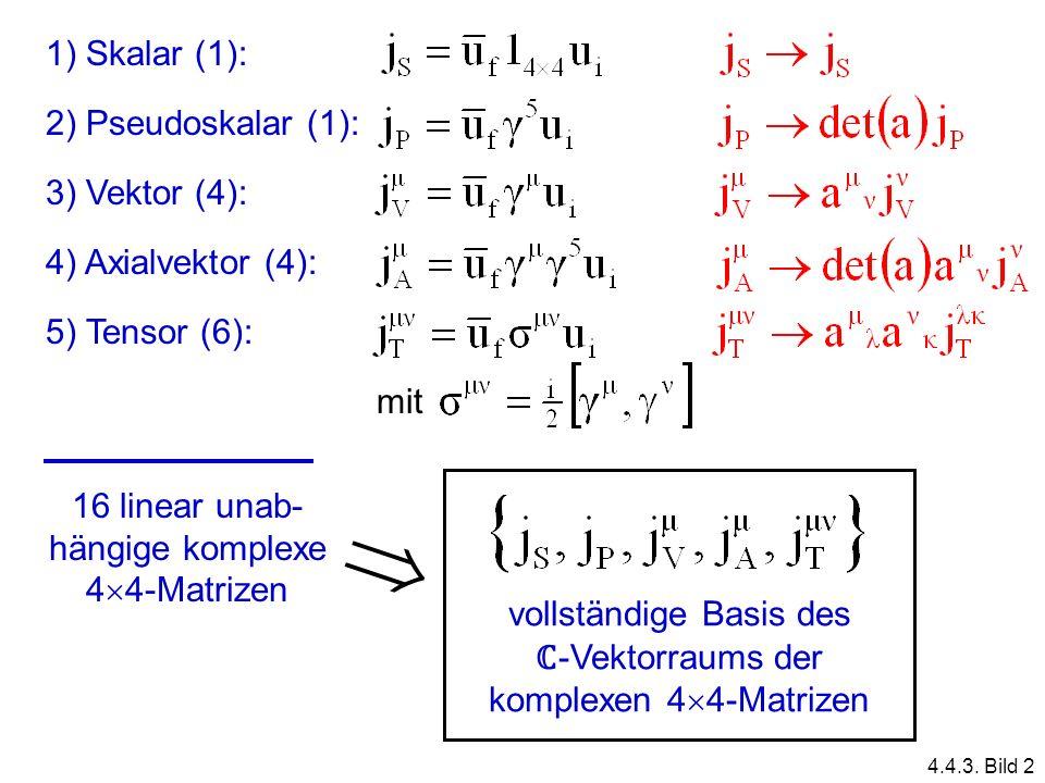  1) Skalar (1): 2) Pseudoskalar (1): 3) Vektor (4):
