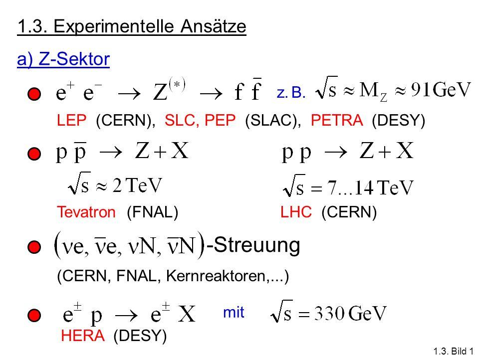 -Streuung 1.3. Experimentelle Ansätze a) Z-Sektor z. B.