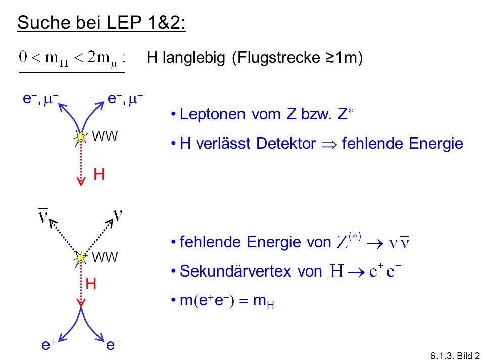 Suche bei LEP 1&2: H langlebig (Flugstrecke ≳1m) H e,  e, 