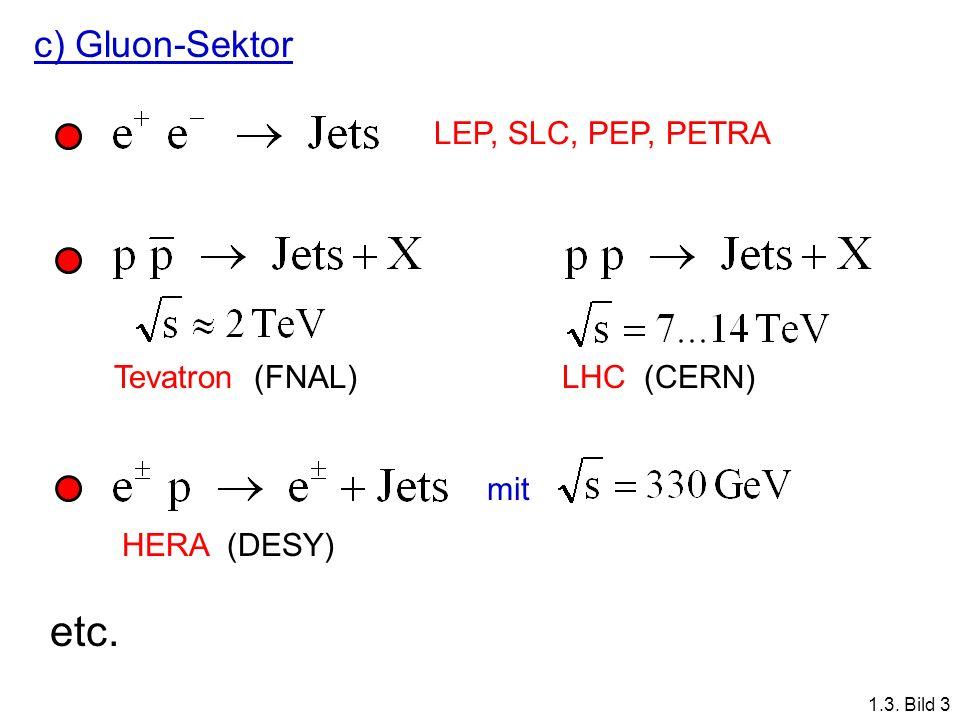 etc. c) Gluon-Sektor LEP, SLC, PEP, PETRA Tevatron (FNAL) LHC (CERN)