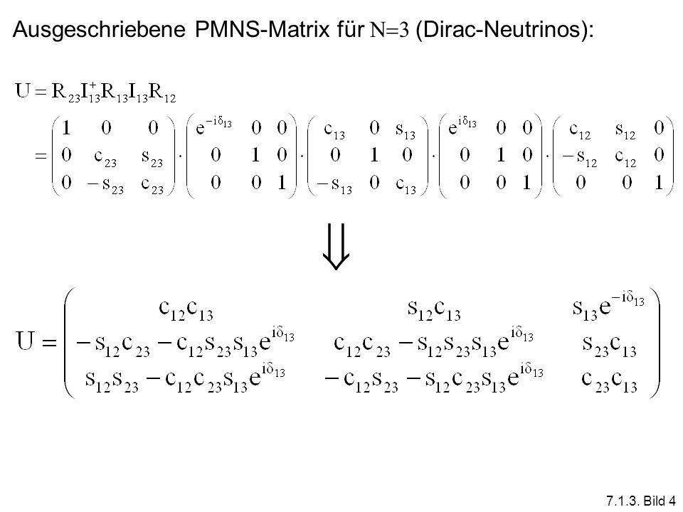 Ausgeschriebene PMNS-Matrix für N3 (Dirac-Neutrinos):