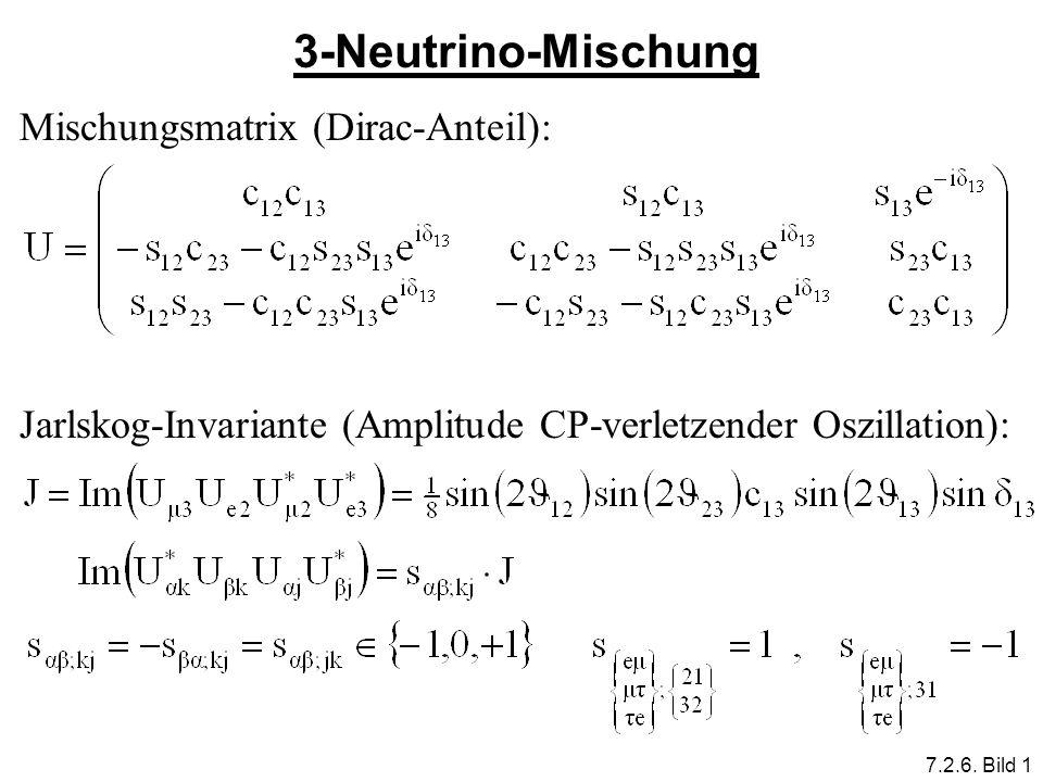 3-Neutrino-Mischung Mischungsmatrix (Dirac-Anteil):